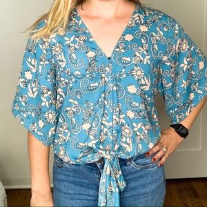 Lovestitch Floral Blue and Pink Tie Front Top